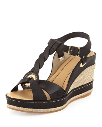 Phillie T-Strap Espadrille Wedge, Black