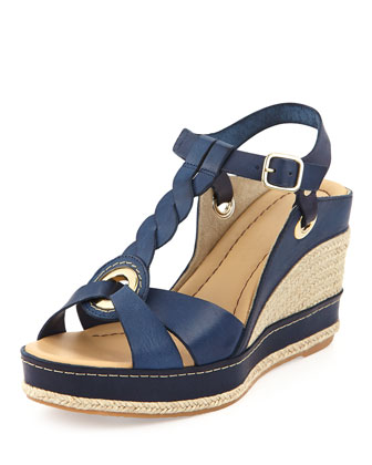 Phillie T-Strap Espadrille Wedge, Navy