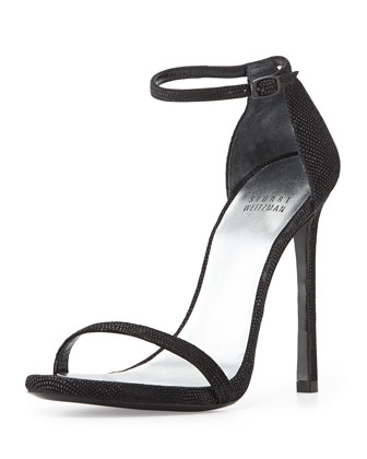 Nudist Suede Ankle-Strap Sandal, Black