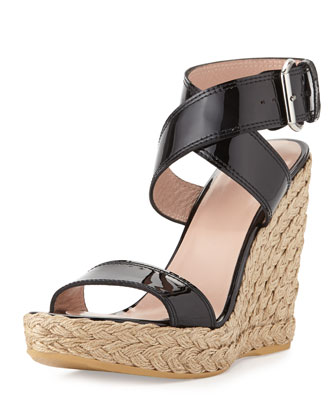 Xray Patent Jute Wedge, Black