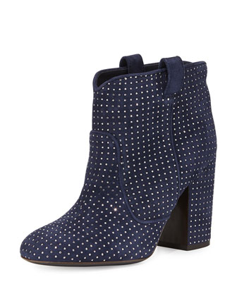 Pete Studded Suede Ankle Boot, Blue/Ruthenium