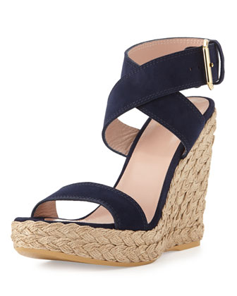 Xray Suede Jute Wedge, Nice Blue (Made to Order)