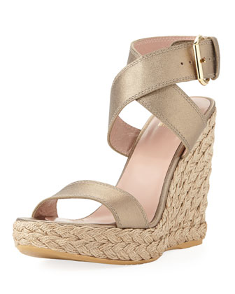 Xray Metallic Leather Jute Wedge, Ale