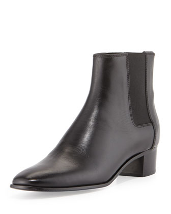 Chelsea Low-Heel Calfskin Boot, Black