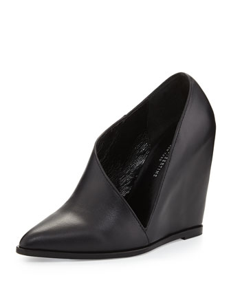Anglo Leather Covered Cutout Wedge, Black