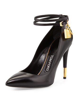 Padlock Ankle-Wrap Leather Pump, Black