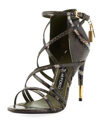 Padlock Ankle-Wrap Snake Sandal, Military