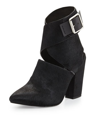 Clarity Calf Hair Ankle-Wrap Bootie
