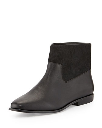 Trinket Calf Hair Ankle Boot, Black