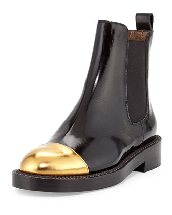 Metallic Cap-Toe Ankle Boot