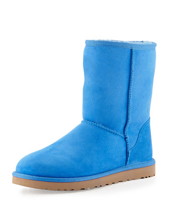 Monogrammed Classic Short Boot, Smooth Blue