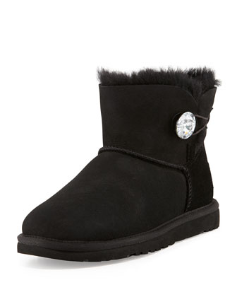 Bailey Crystal-Button Mini Boot, Black
