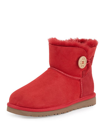 Mini Bailey Buttoned Boot, Red