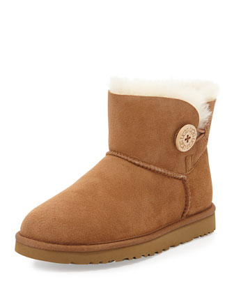 Mini Bailey Button Short Boot, Chestnut