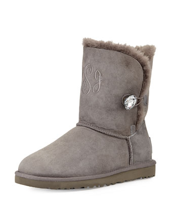 Monogrammed Bailey Crystal Button Short Boot, Gray