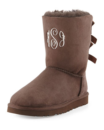 Monogrammed Bailey Bow-Back Short Boot, Chocolate