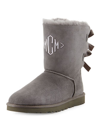 Monogrammed Bailey Bow-Back Short Boot, Gray