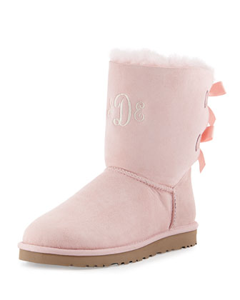 Monogrammed Bailey Bow-Back Short Boot, English Primrose
