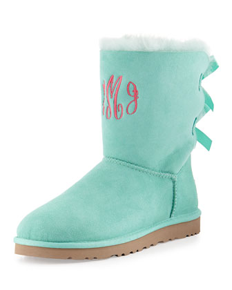 Monogrammed Bailey Bow-Back Short Boot, Aqua