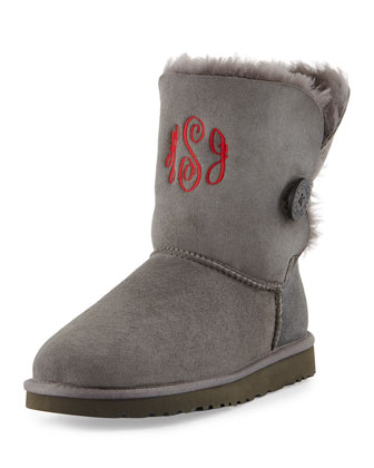 Monogrammed Bailey Button Short Boot, Gray