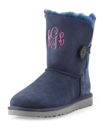 Monogrammed Bailey Button Short Boot, Navy
