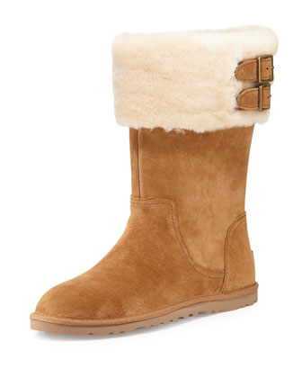 Beckham Double-Buckle Shearling-Cuffed Boot, Chestnut