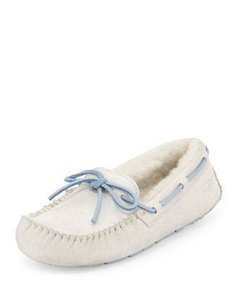 Dakota I Do! Sparkle-Suede Tie-Slipper, White