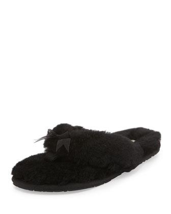 Fluff Shearling Flip Flop, Black
