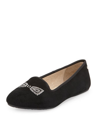 Alloway Crystal Bow Suede Flat, Black
