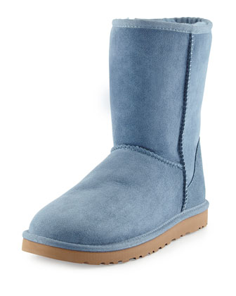 Monogrammed Classic Short Boot, Dolphin Blue