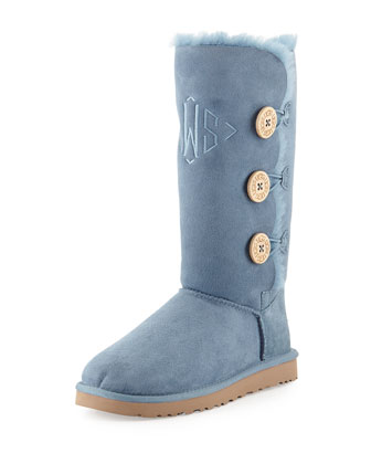 Monogrammed Bailey Button Tall Boot, Dolphin Blue