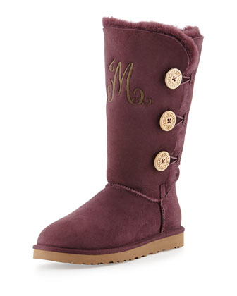 Monogrammed Bailey Triple Button Boot, Port