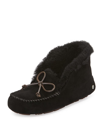 Alena Collared-Tie Sheepskin Slipper, Black
