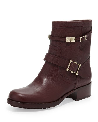 Rockstud Double-Buckle Low Biker Boot, Wine