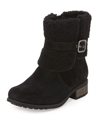 Blayre II Fold-Over Cuff Suede Boot, Black