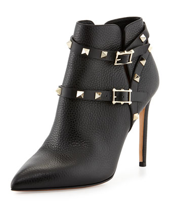 Rockstud Point-Toe Studded-Harness Ankle Boot