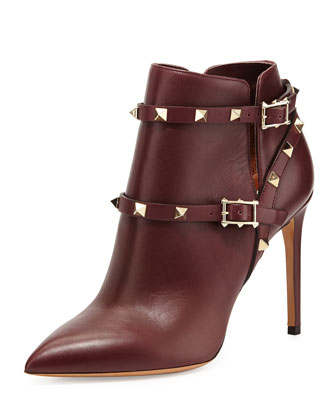 Rockstud Harness Ankle Boot, Wine