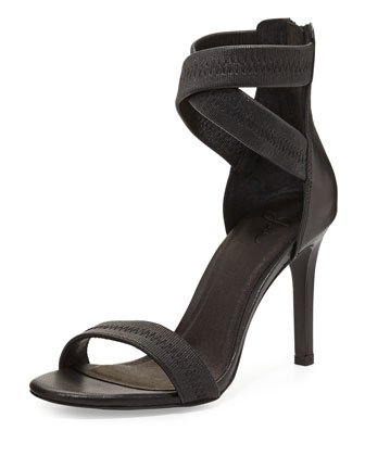 Elaine Leather Ankle-Wrap Sandal, Black