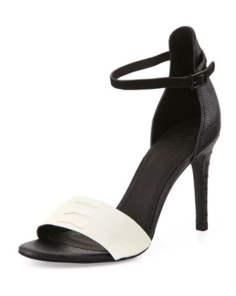 Janice Leather Ankle-Wrap Sandal, Black/Porcelain