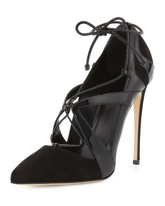 Ilaria Patent & Suede Lace-Up Point-Toe Pump, Black