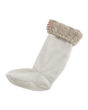 Cable Knit Fleece Welly Socks, Greige (Gray)