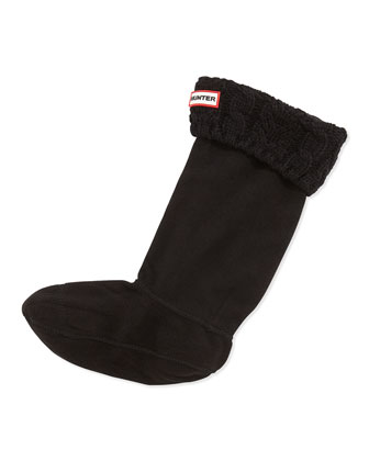 Cable Knit Fleece Welly Socks, Black
