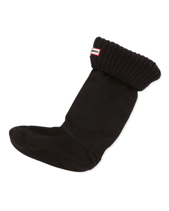 Half Cardigan Fleece Welly Socks, Black