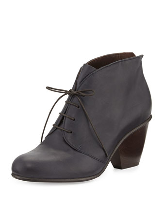Genet Leather Lace-Up Boot, Navy