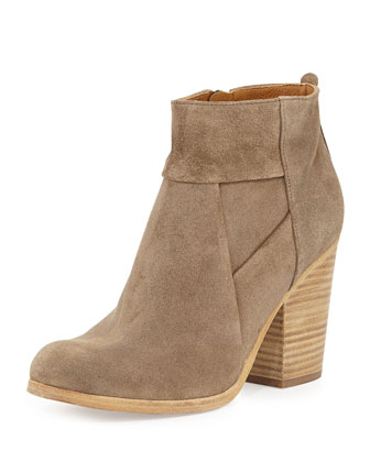 Celeste Suede Ankle Boot, Flint/Natural