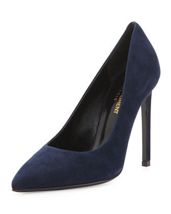 Suede Pointed-Toe Pump, Navy
