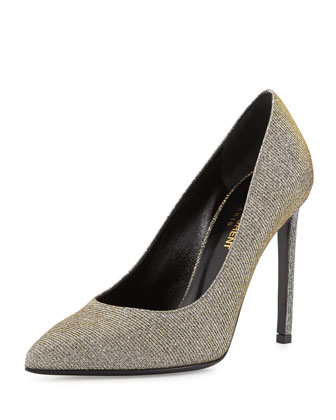 Glittery Lam?? Pointed-Toe Pump, Oro