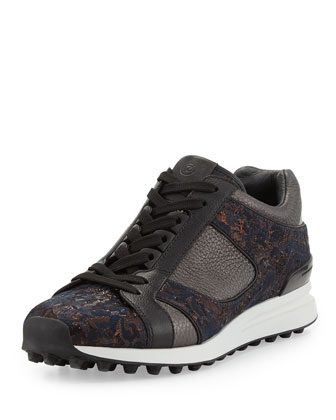 Trance Mixed Leather Sneaker, Bronze Multi