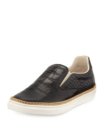 Crocodile-Embossed Skate Shoe, Black