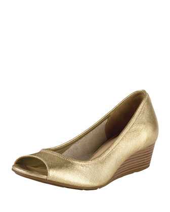 Air Tali Metallic Peep-Toe Wedge, Gold